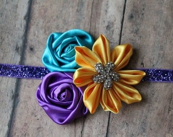 Purple Aqua and Yellow Kanzashi Rosette Headband