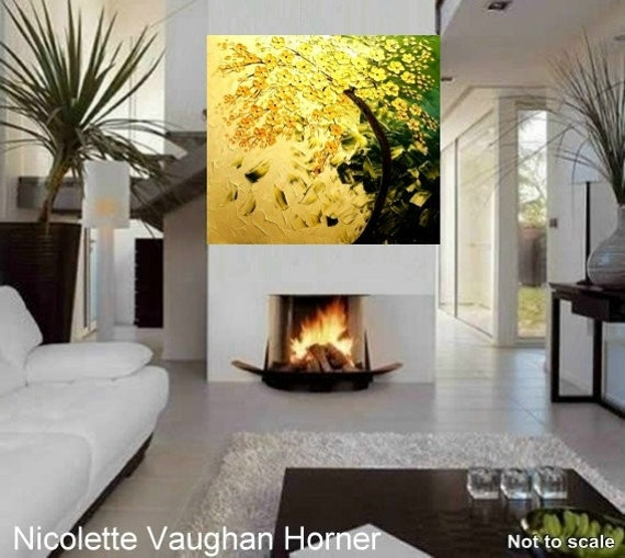 """HUGE 48x48 Landscape Original Art  Gallery canvas Impasto Golden Blossom Tree,thick texture painting by Nicolette Vaughan Horner 48""""x48"""""""