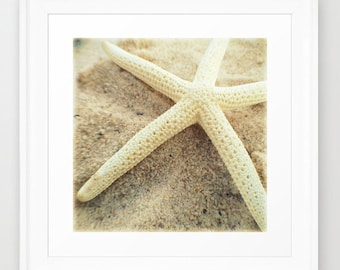 Coastal Beach Print | Starfish Home Decor Wall Art | Nautical Wall Art | White Coastal Decor | Beach House Art | Beach Wall Art Decor Print