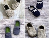 CROCHET PATTERN #122 - Mens Loafer Pack - Four variations included - boat shoes, button loafers, classic loafer, modern, Instant Download