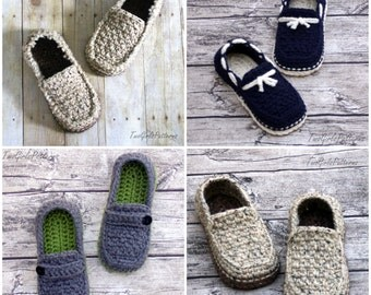 CROCHET PATTERN #122 - Mens Loafer Pack - Four variations included - boat shoes, button loafers, classic loafer, modern, Instant Download L