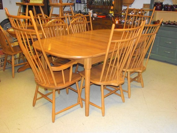windsor dining room set table 6 chairs 2 leaves s bent