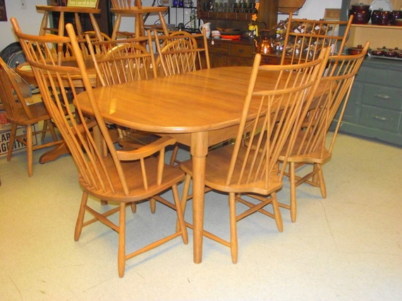 Windsor dining room set table 6 chairs 2 leaves s bent for S bent dining room furniture