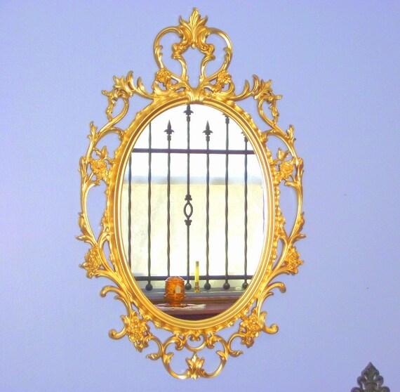 Hollywood Regency Syroco Gold Mirror Ornate Framed Oval Big