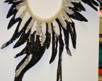 Black & Silver Sequins White Pearls Flame Applique