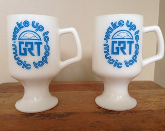 Vintage 70s 1970s milk glass GRT pedestal mugs Wake Up to Music Tapes