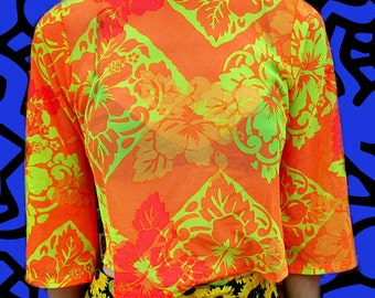 Neon Floral See THrough Mesh Stretchy Cropped Orange Shirt