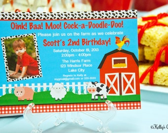 Barnyard Birthday Photo Invitation.... Custom, Printable, Digital