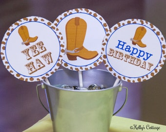 Cowboy Birthday 4 Inch Party Circles, Instant Download, Printable, Digital