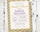 Lace and Gold Bridal Shower Invitation, purple, Vintage Rustic Wedding, digital, printable (JPD55)