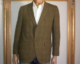 Vintage 1950's Green Plaid Wool Sport Coat - Size 42