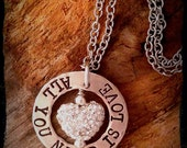 Love Necklace, Stamped love necklace, SAME DAY SHIPPING