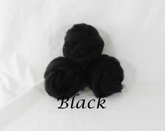 Wool roving in Black, 1 ounce wool roving for needle felting, wet felting, spinning, 1 oz New Zealand wool roving, dyed wool