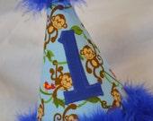 Monkey First Birthday Boy Hat Royal Blue and Light Blue Jungle Theme