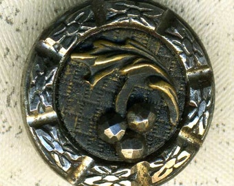 Vintage Metal Picture Button Cut Steel Cherries 11/16 inch 17mm Pictorial Sewing Button