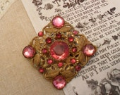 Vintage Brooch, Pink, Crystal, Diamante, Brass, Heirloom, Antique Pin