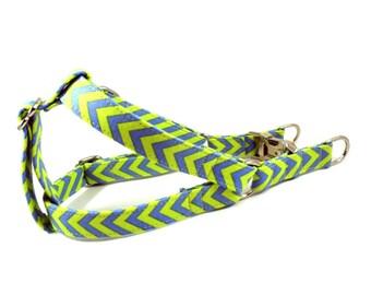 Dog Harness, CHEVRON LIME BLUE, Handmade Dog Harness, Dog Step in Harness, Step in Dog Harness