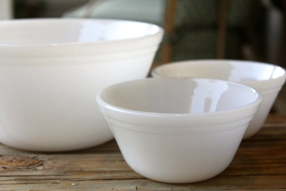 3-Piece White Milk Glass Mixing Bowl  Federal Glass Company 1950's