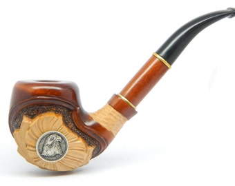 American Eagle - Wooden Tobacco Smoking pipe, Hand carved,  Great Collectible + Gift POUCH