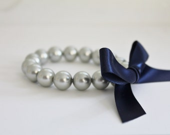 Silver Pearl and Navy Ribbon Bracelet