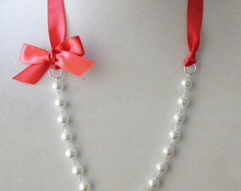 White Pearl and Guava Ribbon Bow Necklace
