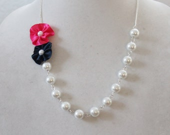 White Pearl with Navy and Hot Pink Flower Necklace