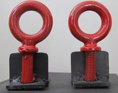 Pair of Red Welded Anhk Metal Bookends