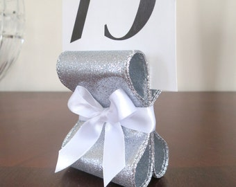 Table Number Holders - Wedding Decor - Ten (10) with Silver Glitter Metallic & White Satin Ribbon - Customize Your Colors