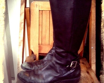 RIDER   ///   Black Leather Moto Boots