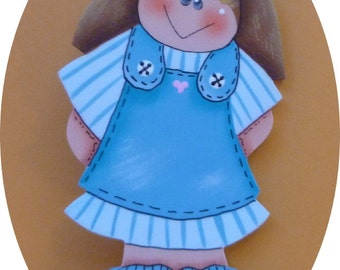 Nurse Pin Girl Hand Painted Wood Turquoise