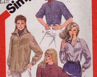 Simplicity 5547 Misses' Raglan Sleeve Shirt and Pullover Top Pattern, UNCUT, Size 10, 1982, Vintage