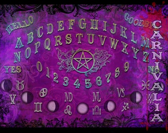 Modern Witch Ouija style Talking-board, Spiritboard, Witchboard, in Orchid colors, with pentacle, moonphases and astrology