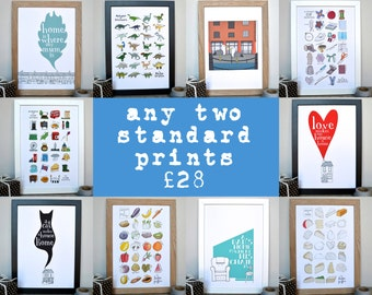 Any two prints for twenty-eight pounds - all Becka Griffin Illustration standard sized prints - including Alphabets and Liverpool