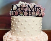 Mr. & Mrs. Wedding Cake Topper - Monogram Initials Cake Topper - Unique Custom Last Name Wedding Cake Topper - Peachwik - PT0002