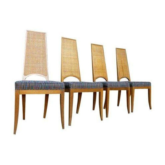 SALE // Caned mid century Modern Walnut DINING CHAIRS set of four