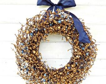 Fall Door Wreath-Fall Wreath-BLUE & TAN Berry Wreath-Country Cottage Home Decor-Autumn Wreath-Door Wreath-Housewarming Gift-Custom Made