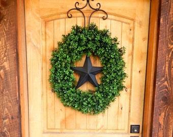 Boxwood Wreath-Summer Wreath-Farmhouse Home Decor-BLACK BARN STAR-Boxwood Door Wreath-Large Door Wreath-Texas Star Wreath-Scented Wreaths