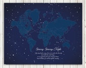 Map Poster, 8X10 Inches, Starry Night, Travel Map, Christmas Gift, Holiday Gift, Long Distance Love, Friendship, Military family