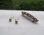 Swarovski Bronze Pearl Barrette and Pearl Earrings Set Choose Your Size Barrette