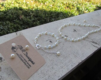 Flower Girl Jewelry White or Ivory Swarovski Pearls and Light Blue Crystals Bridal Jewelry Set