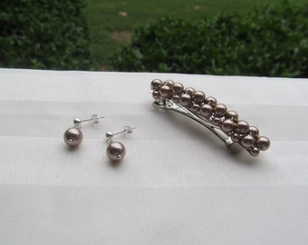 Swarovski Bronze Pearl Barrette and Pearl Earrings Set Choose Your Size Barrette