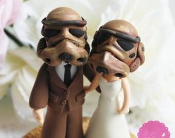 Custom Cake Topper - Star troopers couple