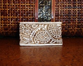 Hand Carved Wood Stamp: Indian Paisley Flower Border Printing Block, Clay Stamp, India Henna Tattoo Mehndi Textile Stamp