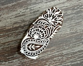 Indian Printing Block, Hand Carved Wood Stamp, Paisley Flower Leaf, Wooden Ceramic Clay Pottery Textile Stamp, Mehndi Henna Tattoo, India