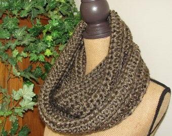 Brown Infinity Scarf Chunky Soft Cowl Hand Crocheted Brown Fall/Winter Scarf Lion Brand Hometown USA Acrylic Little Rock Granite - Unisex