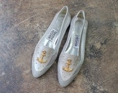 SALE Nautical Loafers /Vintage Silver Leather Shoes / Women's Size 7 1/2 M Mesh Flats