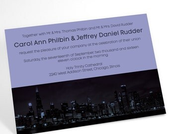 Chicago After Dark wedding invitation suite featuring the downtown skyline. Urban chic simple and understated, yet elegant and sophisticated