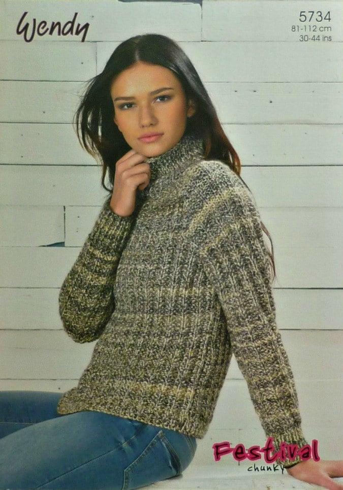 Womens Knitting Pattern W5734 Ladies Long Sleeve Mock Fishermans Rib Jumper K...