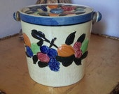 MID CENTURY KITCHEN  Pottery Cookie Jar or Handled Ice Bucket  Fruit Motif Yellow Made In Japan Country Kitchen