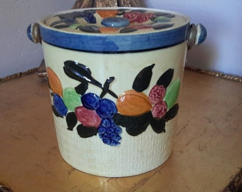 MID CENTURY Cookie Jar or Handled Ice Bucket  Fruit Motif Yellow Made In Japan Country Kitchen